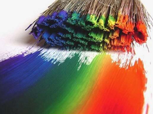 Rainbow paint and paintbrush
